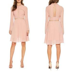 BARDOT Cherie DOBBY High Neck Embroidered Dress XS